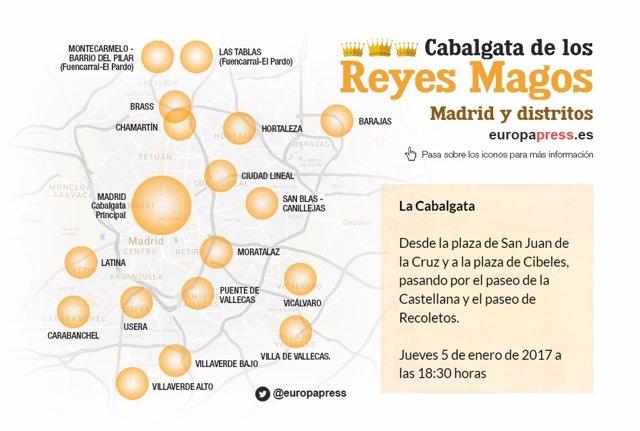 Mapa de la cabalgata de Reyes 2017 en Madrid.