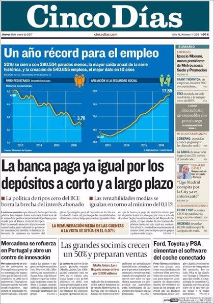 Las portadas de los periódicos económicos de hoy, jueves 5 de enero