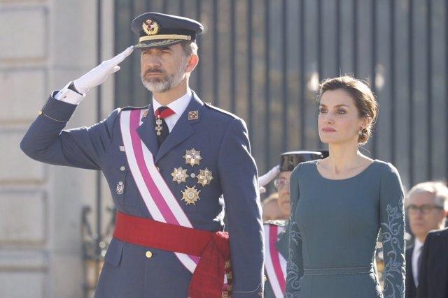 Los Reyes Felipe y Letizia durante la Pascua Militar