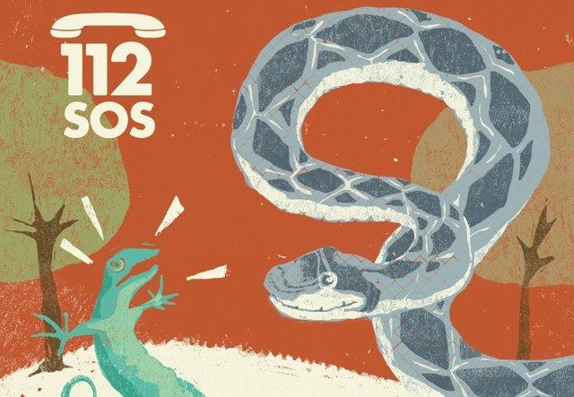 Cartel de la campaña de erradicación de serpientes invasoras en Ibiza