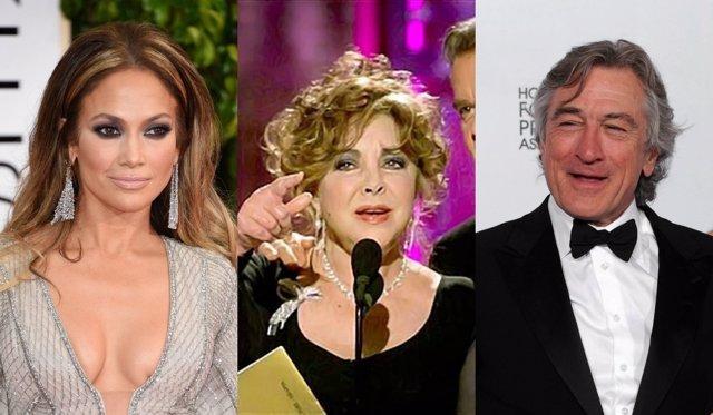 Jennifer López, Elizabeth Taylor y Robert De Niro en los Globos de Oro