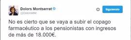 """Montserrat: """"No es cierto que se vaya a subir el copago a los pensionistas con ingresos de más de 18.000 euros"""""""