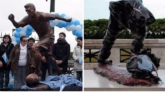 Estatua Messi destrozada