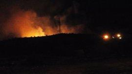 Los Bomberos extinguen un incendio forestal declarado en una rambla junto al polígono El Búho de Cieza