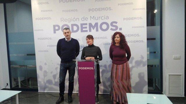 Imagen de la rueda de prensa de Podemos