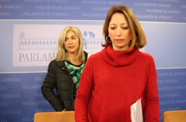 Las diputadas del PP-A Patricia Navarro y Patricia del Pozo