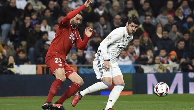 Rami y Morata en el Real Madrid - Sevilla