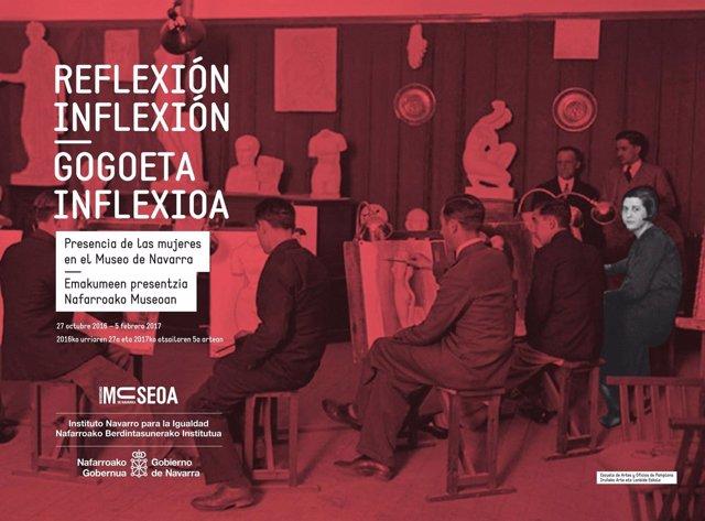 Cartel de la exposición 'Reflexión Inflexión' del Museo de Navarra