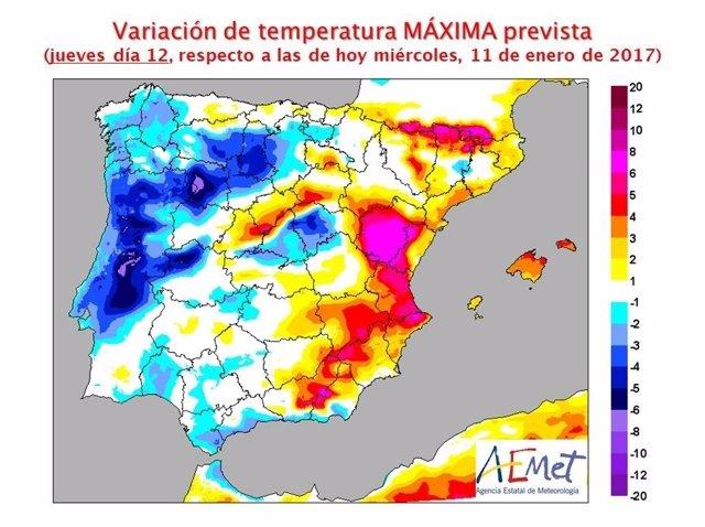 Variación de las temperaturas máximas previstas para el jueves