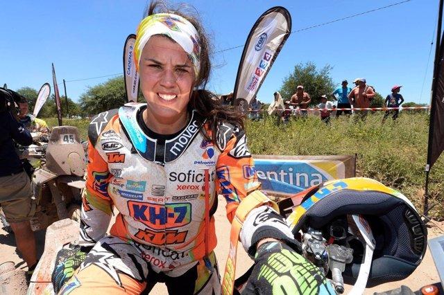 La piloto española Laia Sanz en el Dakar 2017