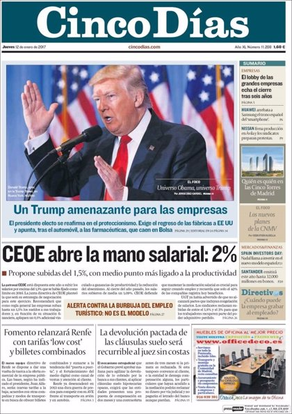 Las portadas de los periódicos económicos de hoy, jueves 12 de enero