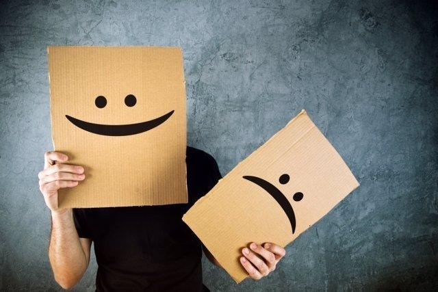 Triste, feliz, caras, expresión