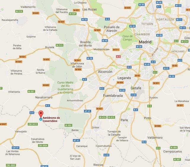 Localización del aeródromo de Casarrubios del Monte, Toledo