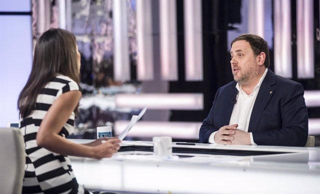 Oriol Junqueras, durante la entrevista en La Sexta