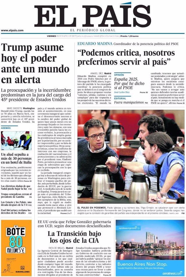 Las portadas de los periódicos de hoy, viernes 20 de enero.