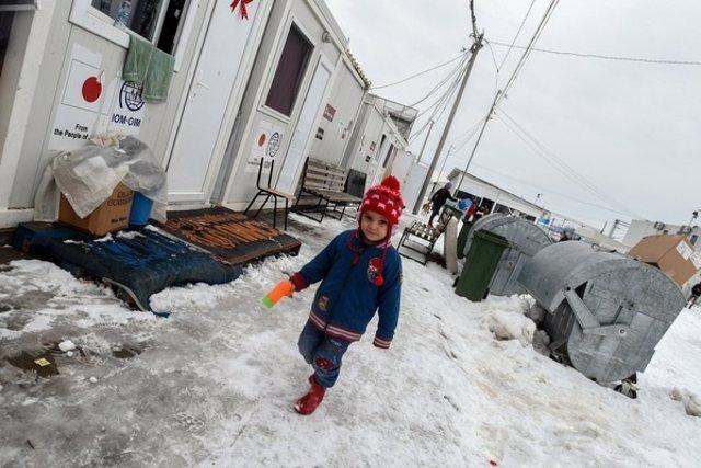 Un niño refugiado sirio en Macedonia