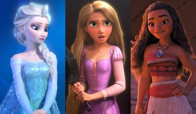 Elsa de Frozen, Rapunzel de Enredados y Vaiana de Moana