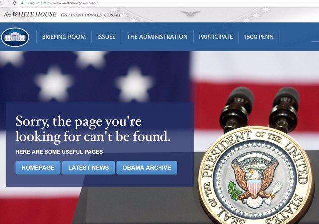 Error al intentar acceder a la versión en español de la Casa Blanca