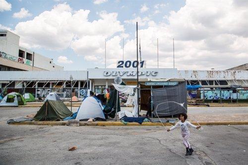 Campo de refugiados de Elliniko, en Atenas