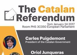 Puigdemont, Junqueras y Romeva defienden este martes en Bruselas un referéndum pactado