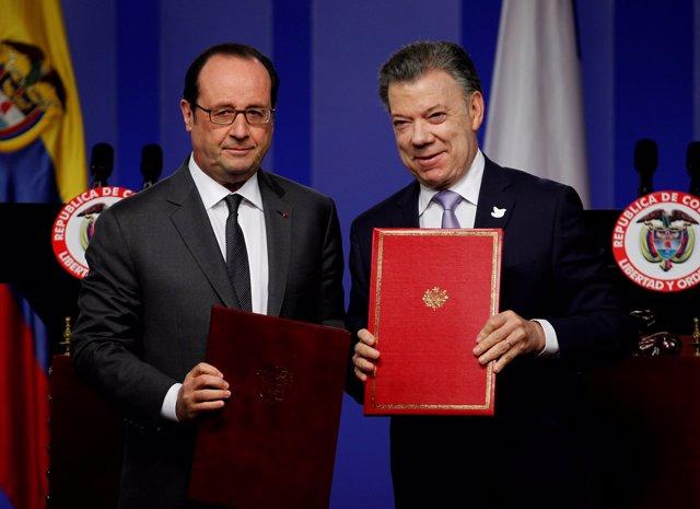 Hollande y Santos