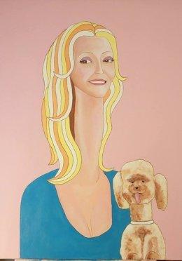 Obra de Blas Nussier sobre la baronesa Thyssen en la Expoparty de Cáceres