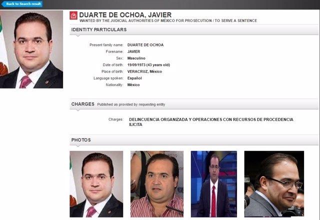 Orden de búsqueda Javier Duarte