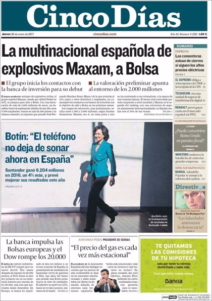 Las portadas de los periódicos económicos de hoy, jueves 26 de enero