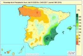 La falta de lluvias se agudiza en el cuadrante noroeste y triplican los valores normales en el sureste peninsular