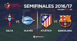 Atlético-Barcelona y Celta-Alavés, semifinales de Copa del Rey