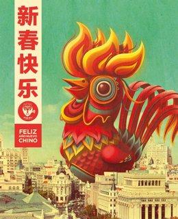 Cartel promocional del nuevo año chino