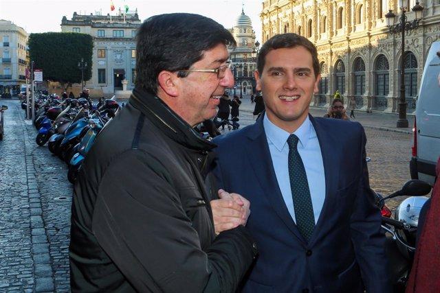 Albert Rivera y Juan Marín, a su llegada a los desayunos de Europa Press