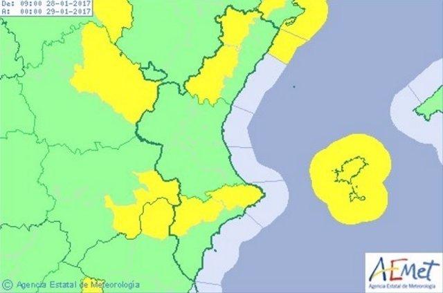 Alerta amarilla en Alicante y Castellón por viento y nieve