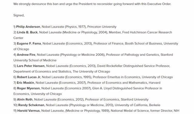 Rechazo a Trump por académicos y ganadores del Nobel