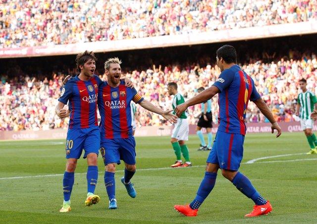 Barcelona Betis Sergi Roberto Leo Messi Luis Suárez