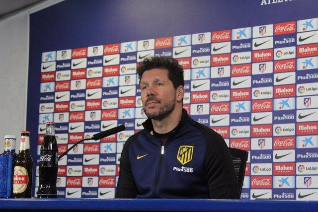 Diego Simeone en la rueda de prensa