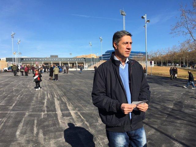 El líder del PPC, Xavier García Albiol, en Badalona (Barcelona)