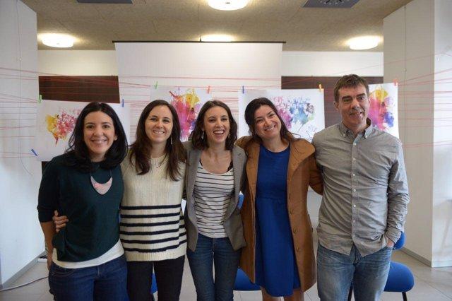 Idoia Villanueva, Ione Belarra, Irene Montero, Eduardo Santos