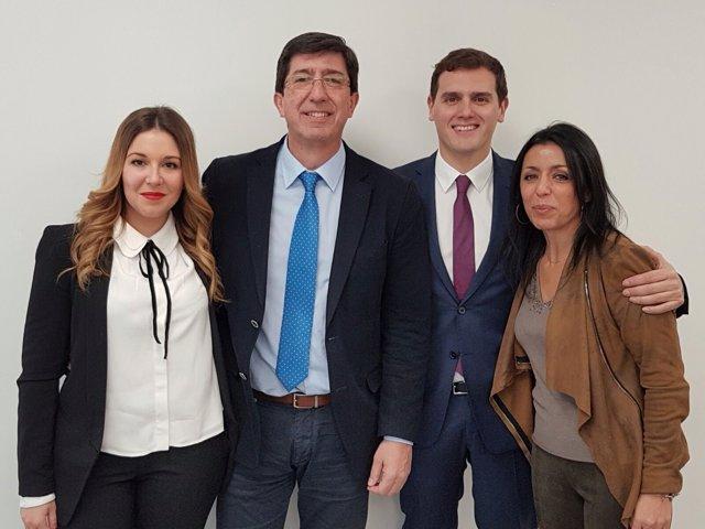 Albert Rivera junto a Juan Marín, Raquel Morales y Marta Bosquet