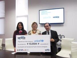 Puerto Venecia dona 10.250 euros a Unicef Aragón para su campaña 'Uno más uno'