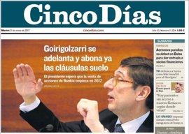 Las portadas de los periódicos económicos de hoy, martes 31 de enero