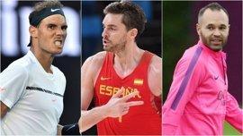 Nadal, Pau Gasol e Iniesta, los deportistas españoles con mejor imagen en 2016; Messi, el mejor extranjero