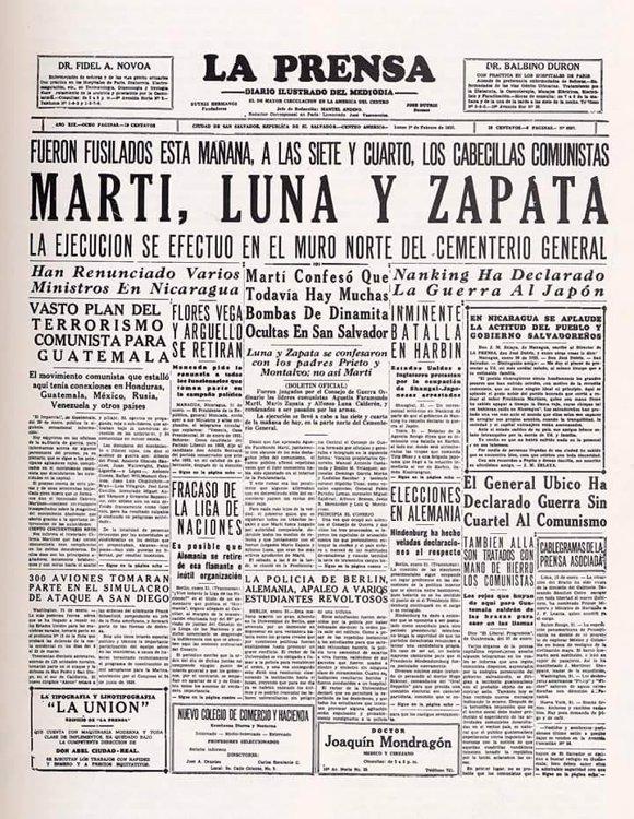 Prensa, Muerte de Farabundo Martí