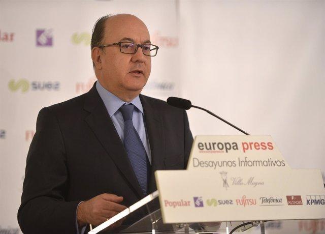 El presidente de la AEB, José María Roldán, en los desayunos de Europa Press