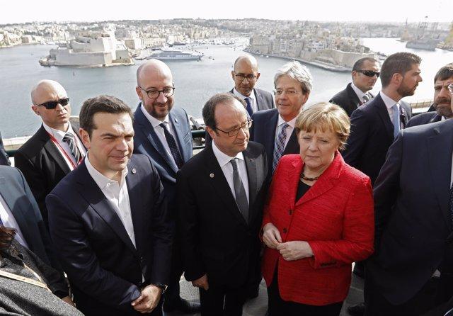 Tsipras, Hollande, Merke, Michel y Gentiloni en La Valeta