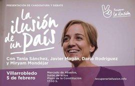La diputada de Podemos Tania Sánchez visita este domingo Villarrobledo