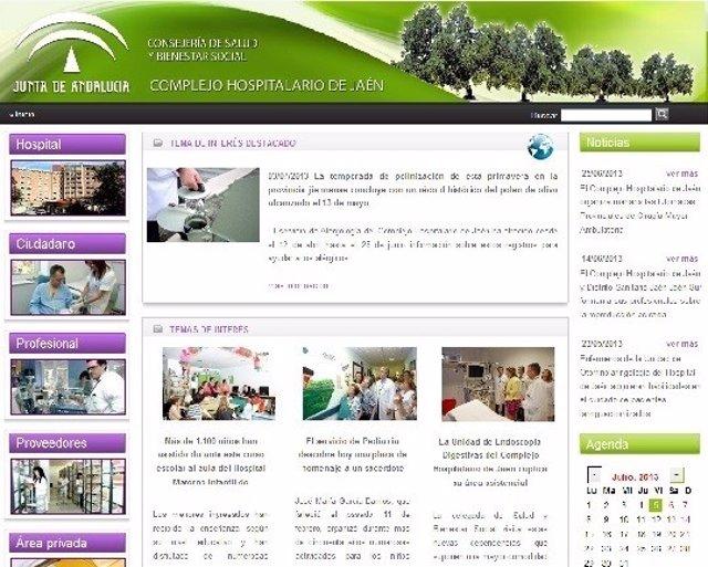 Portada de la web del Complejo Hospitalario de Jaén