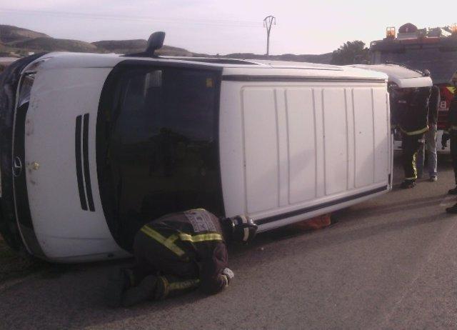 Imagen de la furgoneta accidentada