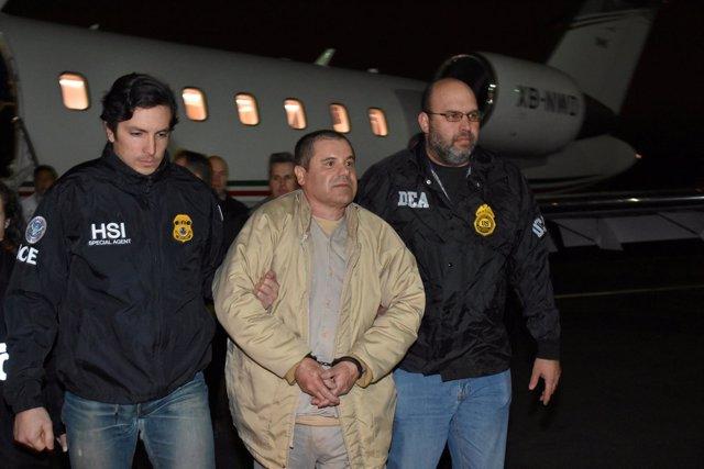 Joaquín 'Chapo' Guzmán a su llegada a Estados Unidos tras ser extraditado