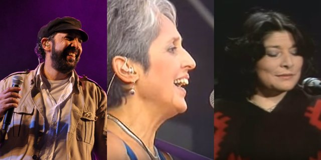 Juan Luis Guerra, Joan Baez y Mercedes Sosa